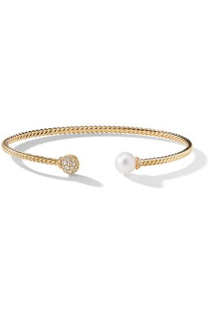 David Yurman 18kt yellow gold Petite Solari Bead diamond and pearl cuff