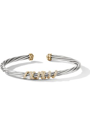 David Yurman Sterling silver and 18kt yellow gold Helena centre station diamond cuff