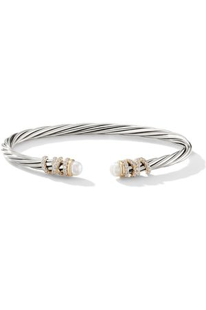 David Yurman Sterling silver and 18kt yellow gold Helena pearl and diamond cuff