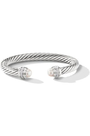 David Yurman Cable pearls and diamond 7mm cuff