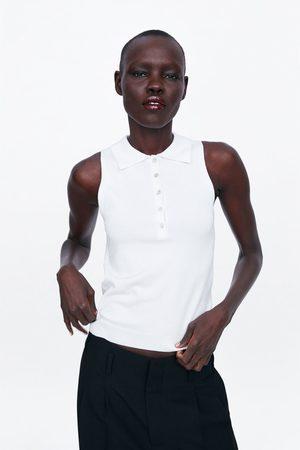 Zara Senhora Pólos - Camisa polo de malha com botões