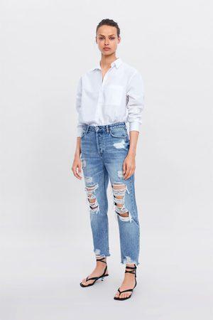 Zara Jeans z1975 hi-rise straight com rasgões