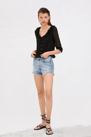 Zara Camisa de plumeti com folho