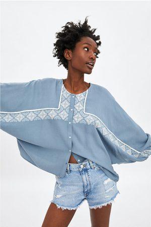 Zara Camisa de ganga com bordados