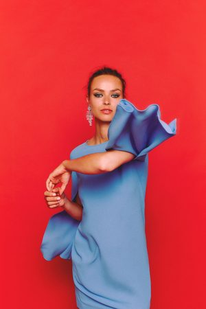 Zara Vestido com manga capa