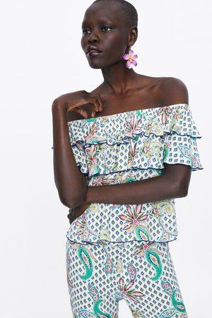 Zara Blusa estampada folhos