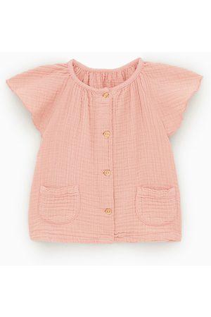 Zara Camisa de crepe com folho