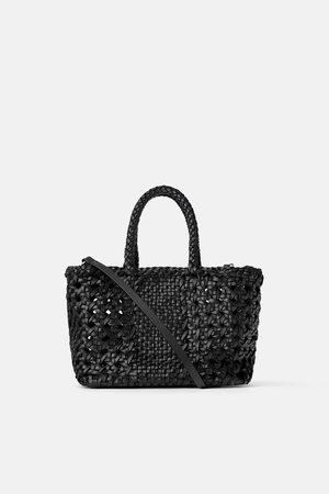 Zara Senhora Shoppers - Mala mini tote bag de pele trançada