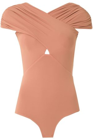 AMIR SLAMA Ruched crossover body top