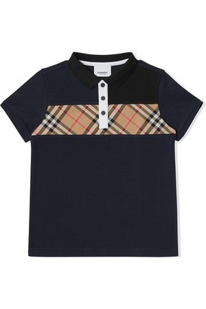 Burberry Vintage Check Panel Cotton Polo Shirt