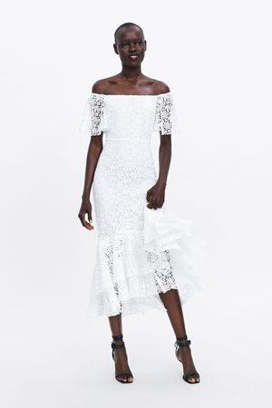 Zara Vestido comprido renda
