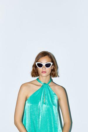 Zara Senhora Vestidos com Decote Halter - Vestido decote halter acetinado