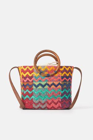 Zara Mala tote bag colorida com alças de madeira