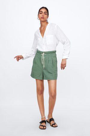 Zara Senhora Bermudas - Calções baggy com pinças