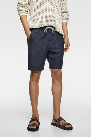 Zara Homem Bermudas - Calções bermuda rústicos com cordão