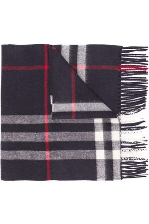 Burberry Cashmere fringed check scarf