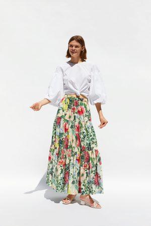 Zara Saia com estampado floral com folhos