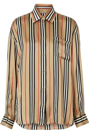 Burberry Icon Stripe Silk Oversized Shirt