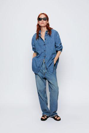Zara Camisa comprida de ganga