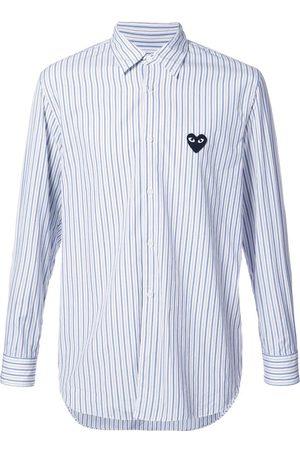 Comme des Garçons Heart logo patch striped shirt