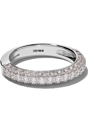 De Beers 18kt DB Darling half pavé diamond large band