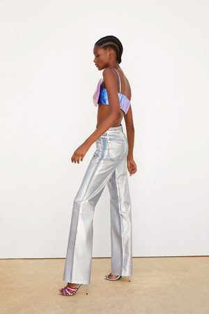 Zara Jeans denim perna larga iridiscente