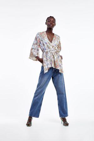 Zara Blusa com estampado e cordão