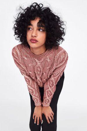 Zara Sweater em malha de cabo com brilho