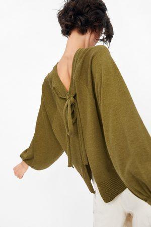 Zara Sweater de malha com laço