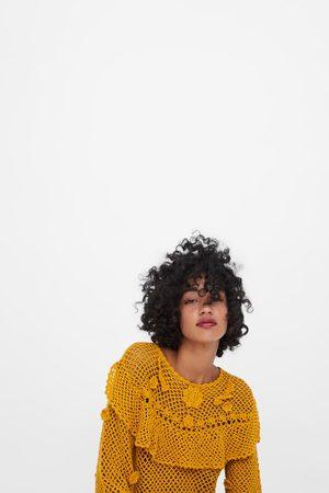 Zara Sweater de crochet com folho