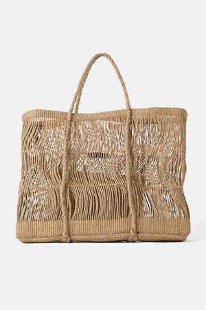Zara Mala maxi tote bag com cordas