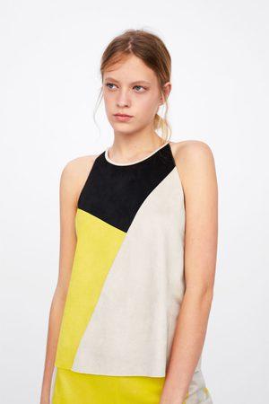 Zara Top com efeito de camurça color block