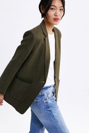 Zara Blazer rústico com bolsos
