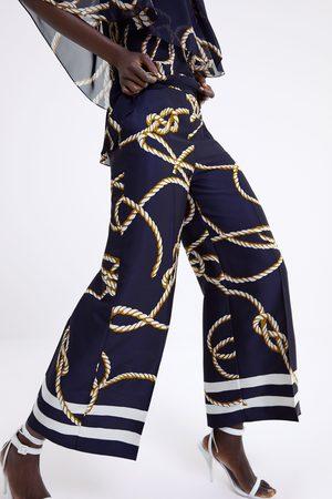 Zara Calças culotte com estampado de nós