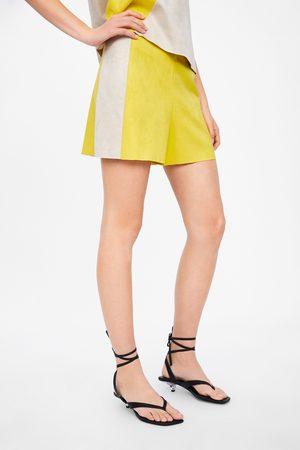 Zara Faux suede colour block bermudas