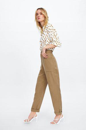 Zara Calças baggy com bolsos