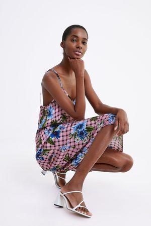 Zara Vestido aos quadrados com estampado floral