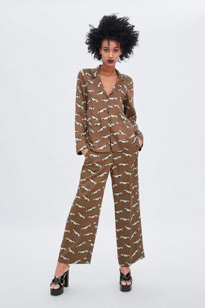 Zara Calças tipo pijama estampadas