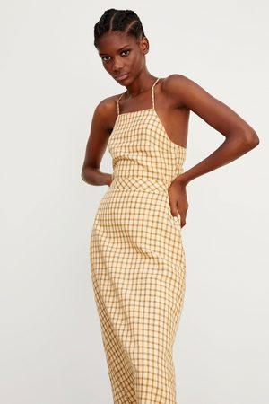 Zara Senhora Vestidos - Vestido rústico aos quadrados