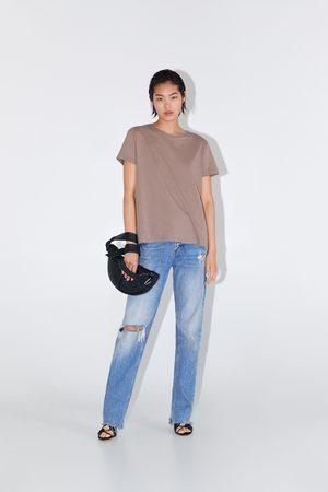 Zara Senhora T-shirts & Manga Curta - T-shirt assimétrica básica