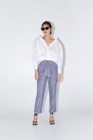 Zara Senhora Calças Chino - Calças algodão laço