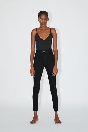 Zara Jegging hi rise super elastic com rasgões