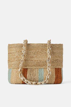 Zara Mala tote bag natural com alça de padrão tartaruga