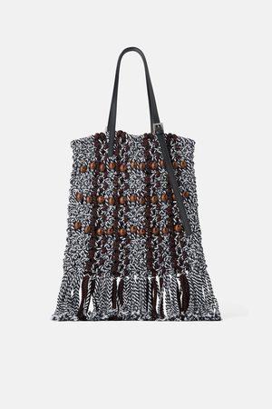 Zara Senhora Shoppers - Mala tote bag trançada com bolinhas de madeira