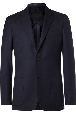 Mr P. Grey Unstructured Worsted Wool Blazer