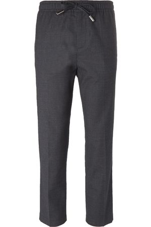 Mr P. Homem Calças Justas - Slim-fit Grey Stretch Wool And Cotton-blend Drawstring Trousers