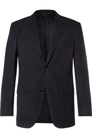 Ermenegildo Zegna Navy 10-pocket Stretch Wool And Silk-blend Blazer