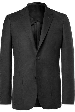 Mr P. Homem Blazers - Grey Unstructured Worsted Wool Blazer
