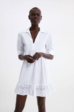 Zara Vestido com folho e bordados