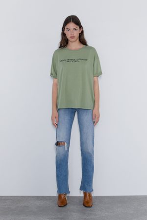 Zara T-shirt com efeito lavado e texto